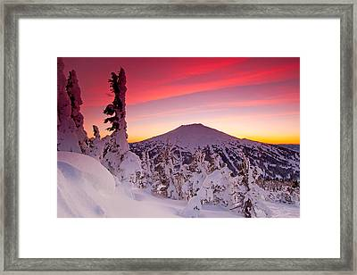 Mt. Bachelor Winter Twilight Framed Print by Kevin Desrosiers