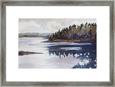 Framed Print featuring the pastel Mt. Desert Morning by Grace Keown