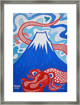 Mt. Fuji And A Red Dragon Framed Print by Taikan Nishimoto