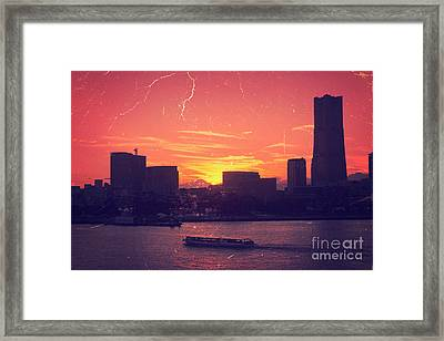 Mt Fuji At Sunset Over Yokohama Bay Framed Print