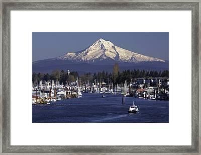 Hayden Island And Mt. Hood Framed Print
