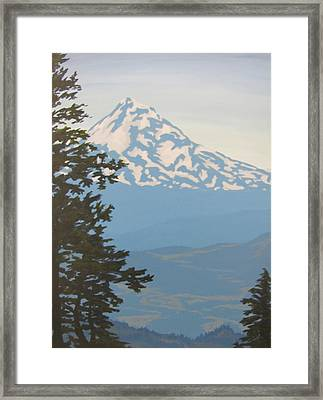 Framed Print featuring the painting Mt Hood by Karen Ilari