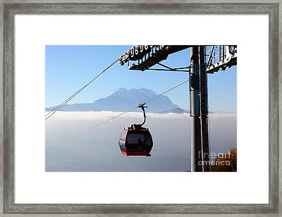 Mt Illimani And Cable Car Framed Print