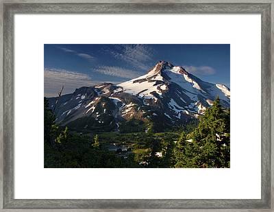 Mt Jefferson At Sunrise, Mt Jefferson Framed Print