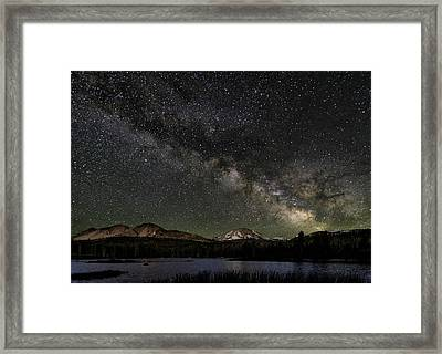 Mt Lassen And Milky Way Framed Print by Keith Marsh