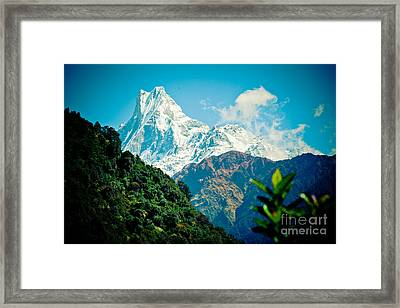 Mt Machapuchare Or Fish Tail Nepal Artmif Framed Print by Raimond Klavins