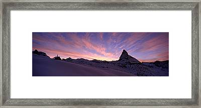 Mt Matterhorn At Sunset, Riffelberg Framed Print by Panoramic Images