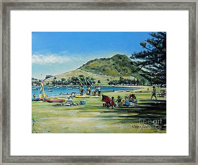 Framed Print featuring the painting Mt Maunganui Pilot Bay 201210 by Selena Boron