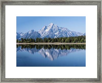 Mt. Moran At Grand Tetons With Reflection In Lake Framed Print