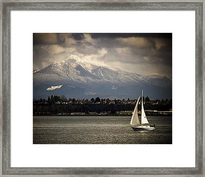 Mt Philchuck And Sailboat Framed Print