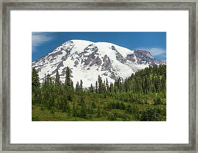 Mt Rainer And Forested Moraines As Seen Framed Print by Michael Qualls