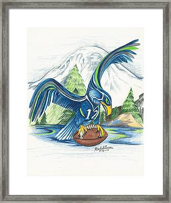 Mt Rainer And The Seahawk Framed Print
