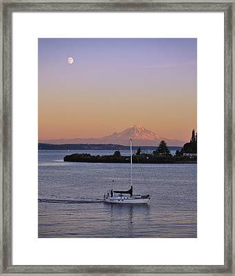Mt. Rainier Afterglow Framed Print by Adam Romanowicz