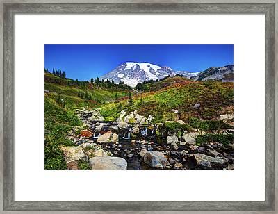Mt. Rainier And Creek Framed Print by Shawn Everhart