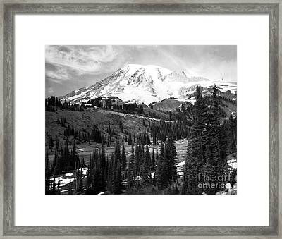 Mt. Rainier And Paradise Lodge 1950 Framed Print by Merle Junk