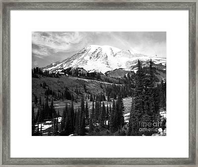 Mt. Rainier And Paradise Lodge 1950 Framed Print