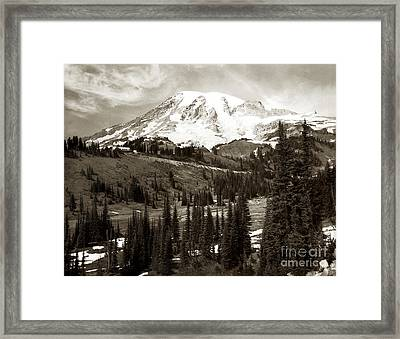 Mt. Rainier And Paradise Lodge In Sepia 1950 Framed Print