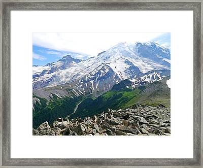 Mt Rainier From Sunrise Framed Print
