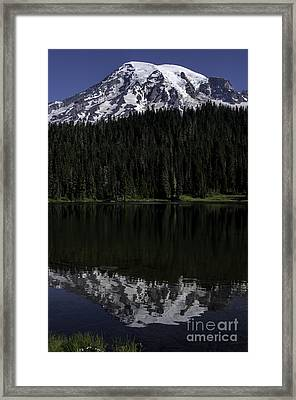 Mt Rainier Reflected In Reflection Lake Framed Print