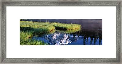 Mt. Rainier Reflecting Into Reflection Framed Print