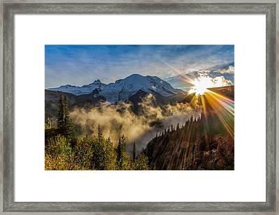 Mt Rainier Sunburst Framed Print