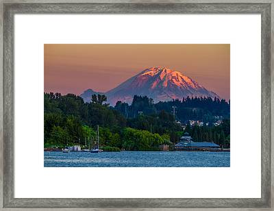 Mt Rainier Sunset At The Lake  Framed Print