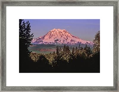 Mt Rainier Sunset Glow Framed Print