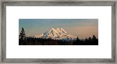 Mt Rainier Winter Panorama Framed Print