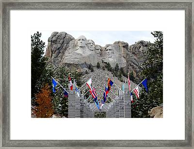 Mount Rushmore Flagway  Framed Print