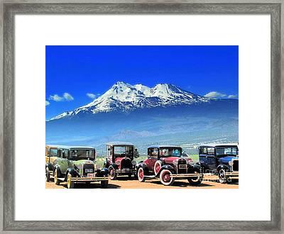 Mt. Shasta And Retro Cars  Framed Print