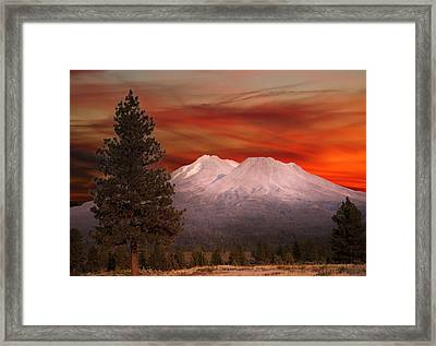 Mt Shasta Fire In The Sky Framed Print by Randall Branham