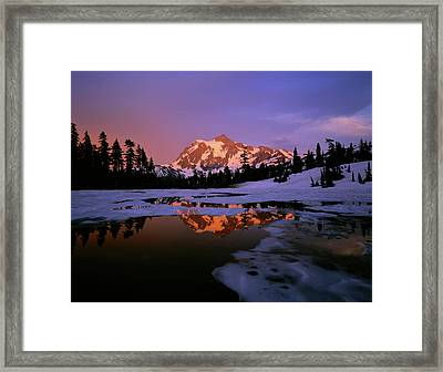 Mt. Shuksan Reflecting Into A Partial Framed Print