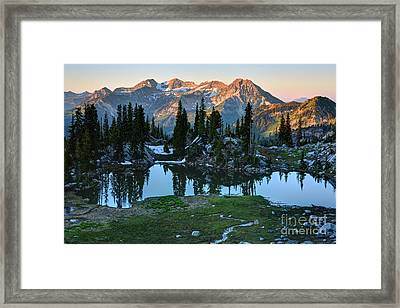 Mt. Timpanogos At Sunrise From Silver Glance Lake Framed Print
