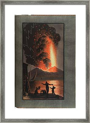 Mt. Vesuvius Erupts At Night Framed Print by British Library