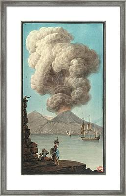 Mt. Vesuvius' Morning Eruption Framed Print by British Library