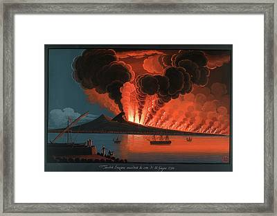 Mt. Vesuvius' Terrible Eruption Framed Print by British Library