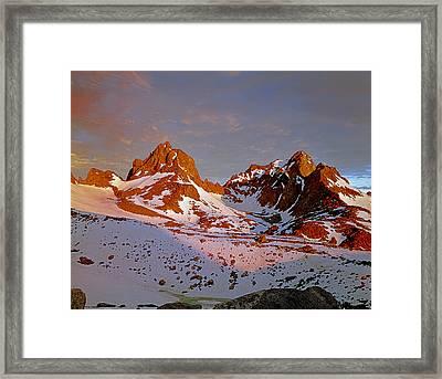 406422-mt. Winchell Mt. Agassiz Sunset Framed Print