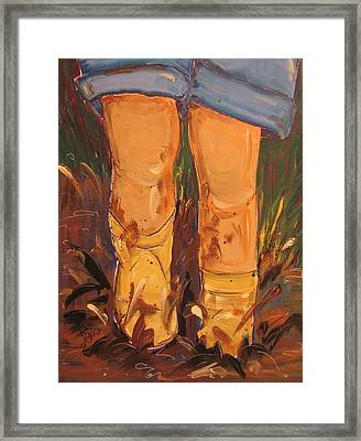 Mud Puddle Fun Framed Print by Terri Einer
