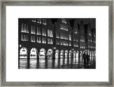 Cobblestone Night Walk In The Town Framed Print by Miguel Winterpacht