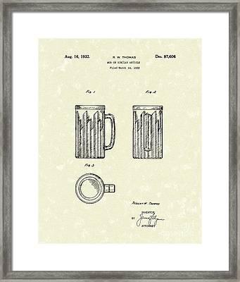 Mug 1932 Patent Art Framed Print by Prior Art Design