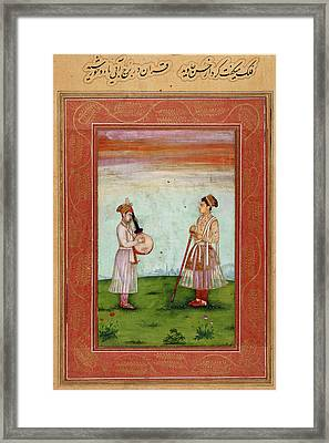Mughal Prince With Musician Framed Print