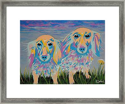Mugi And Tatami - Contemporary Dachshunds Dog Art Framed Print