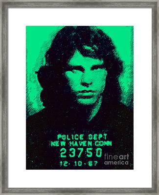 Mugshot Jim Morrison P128 Framed Print by Wingsdomain Art and Photography
