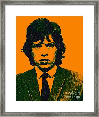 Mugshot Mick Jagger P0 Framed Print by Wingsdomain Art and Photography