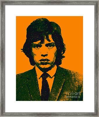 Mugshot Mick Jagger P0 Framed Print by Wingsdomain Art and Photography
