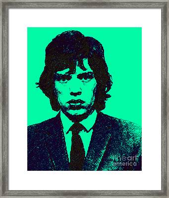 Mugshot Mick Jagger P128 Framed Print by Wingsdomain Art and Photography
