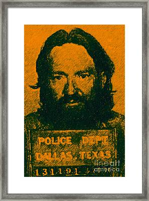 Mugshot Willie Nelson P0 Framed Print