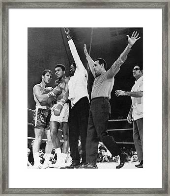 Muhammad Ali And Jerry Quarry Framed Print by Underwood Archives