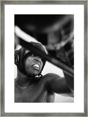 Muhammad Ali Looking Sideway Through Rope Framed Print by Retro Images Archive