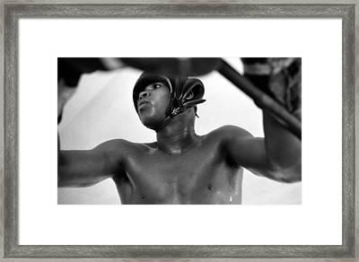 Muhammad Ali Looking Through Ropes Framed Print